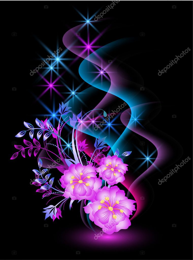 Glowing background with flowers, smoke and stars  Stock Vector #5131559