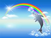 Rainbow and dolphin — Stock Vector