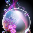 Glowing background with flowers and bubbles - Stock Vector