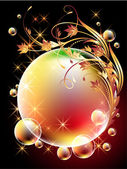 Background with sphere, golden flowers, stars and bubbles — Stock Vector