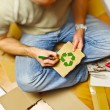 Man and recycling paper - Stockfoto
