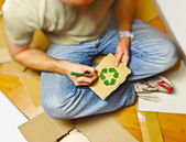 Man and recycling paper — Stock Photo