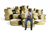 Desperate man on 3d euro — Stock Photo