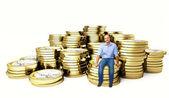 Man op euro munt 3d — Stockfoto