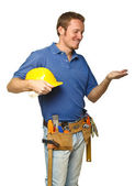 Smiling worker on white — Stock Photo