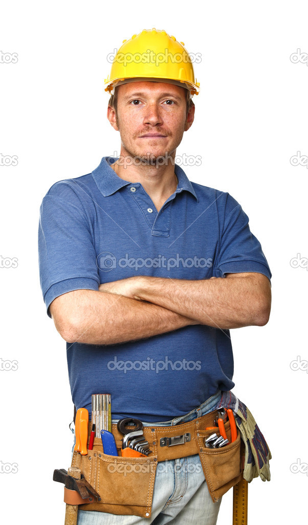Confident handyman portrait isolated on white background — Stock Photo #4201856
