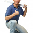 Crouched manual worker portrait — Stock Photo