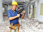Construction worker on duty — Stock Photo
