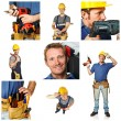 Happy worker on white background - Stock Photo