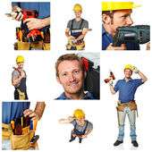 Happy worker on white background — Stock Photo