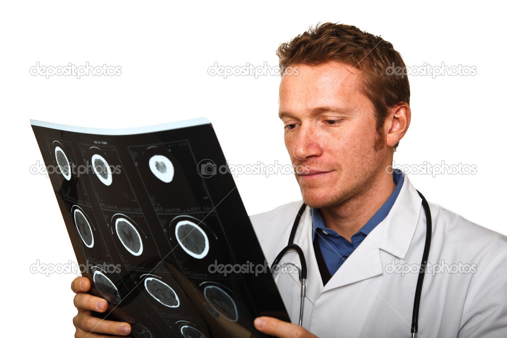 Young doctor check xray isolated on white background — Stock Photo #4537320