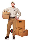 Delivery man on white — Stock Photo