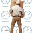 Stock Photo: Time zone delivery
