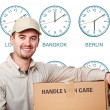 Stock Photo: Time zone delivery man