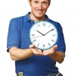 Smiling worker and time — Stock Photo