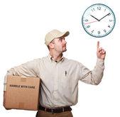 Leverans mannen och tid — Stockfoto
