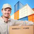 Royalty-Free Stock Photo: Delivery man and colorful container