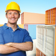 Worker and 3d container background — Stock fotografie