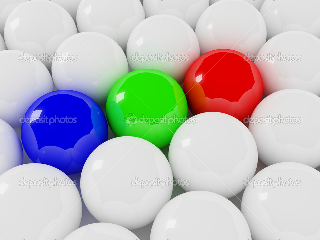 Fine 3d image of rgb color and white balls  Stock Photo #4764954