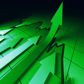 Green arrows chart — Stock Photo