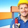 Worker and container background — Stock Photo