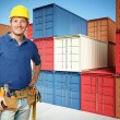 Worker and container background — Stock Photo #4785831