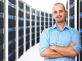 Man in datacenter — Stock Photo