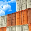 3d container and blue sky - Stock Photo