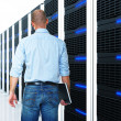 Black 3d server and man — Stock Photo