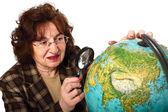 Profesor y mapamundi — Foto de Stock