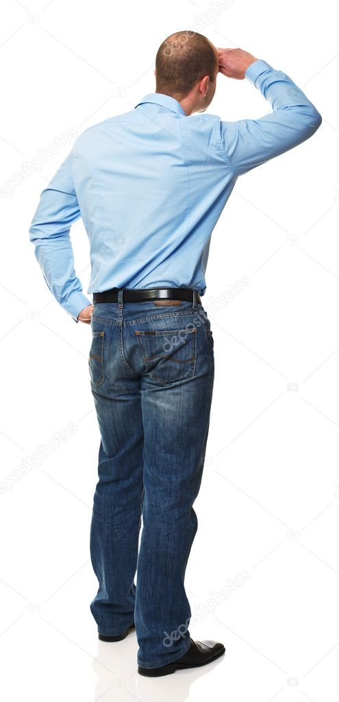 Standing caucasian man back view isolated on white background — Стоковая фотография #5189532