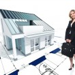 House concept and woman - Stock Photo
