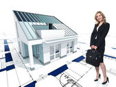 House concept and woman — Stock Photo