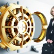 Woman and bank vault — Stock Photo #5360557