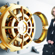 Stock Photo: Womand bank vault