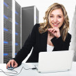 Virtual server 3d and woman — Stock Photo