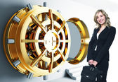 Woman and bank vault — Stock Photo