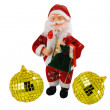 Santa Klaus and gold spheres — Stock Photo