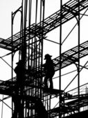 Silhouette of Construction Workers — Stock Photo