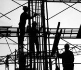 Construction Workers Silhouette — Stock Photo