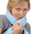 Beautiful young woman with towel after sport — Stock Photo