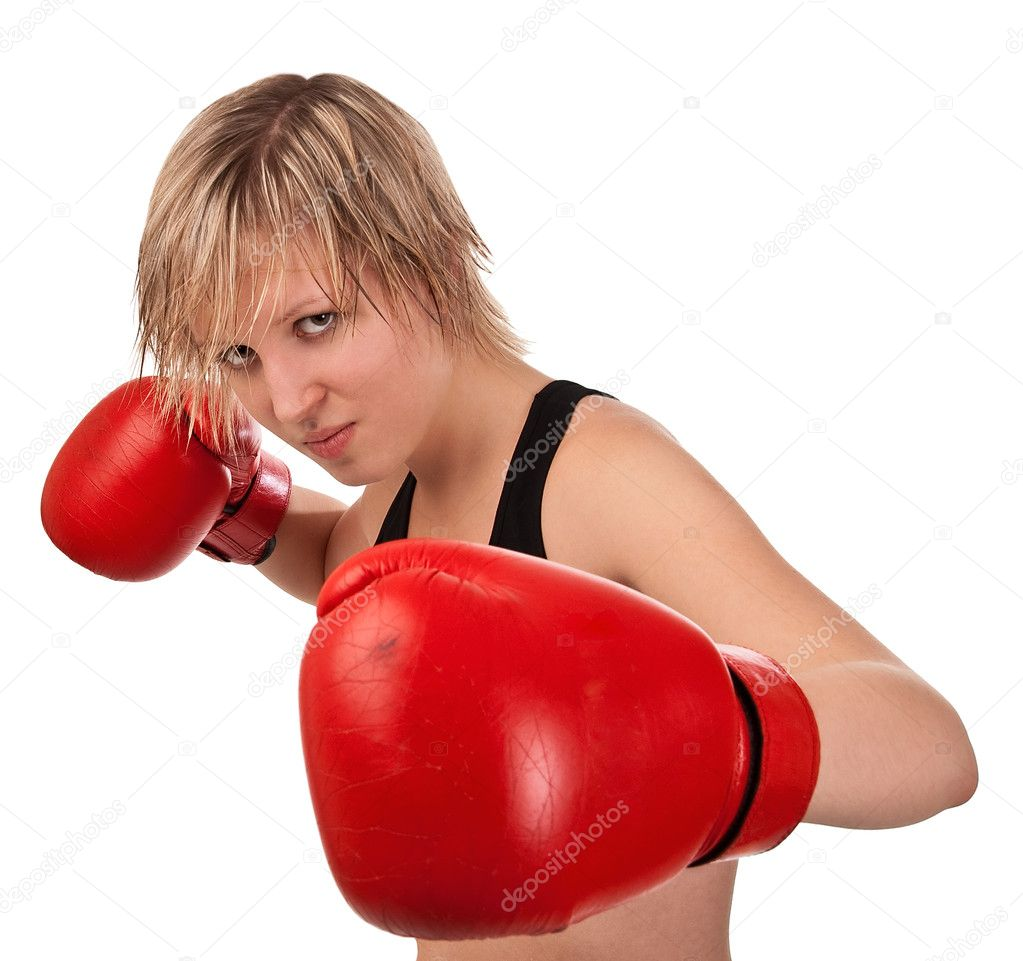 Fit girl in red boxing gloves, isolated on white — Stock Photo #4638776