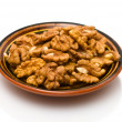 Shelled walnuts in the dish — Stock Photo