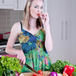 Young woman preparing healthy vegetables — Stock Photo #4260441