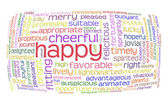 Happy cheerful word cloud — Stock Photo