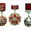 Medals of the USSR. In number of three pieces. Are isolated on a — Stock Photo #4517325