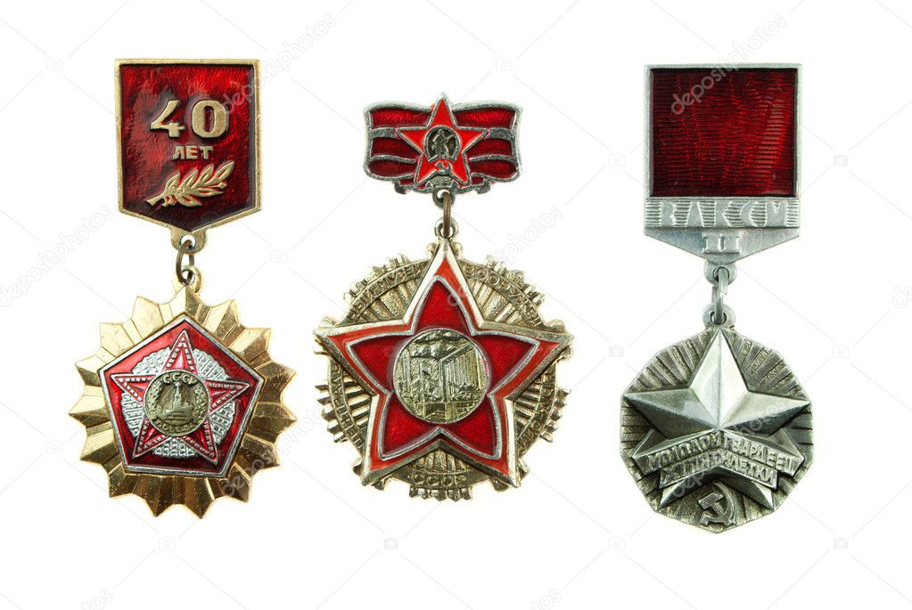 Medals of the USSR. In number of three pieces. Are isolated on a white background — Stock Photo #4517325