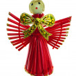Angel on Valentine's Day. Made of straw and painted in red. — Stock Photo