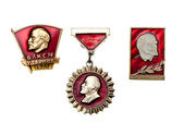 Medals of the USSR. In number of three pieces. Are isolated on a — Stock Photo