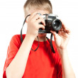 Professional photographer isolated on white. Portrait of young t — Stock Photo